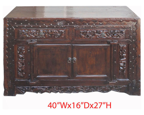 Chinese Antique Flower Carving Lacquer Lower Altar Table TV Stand Cabinet - Look at this Chinese antique lower altar table which is made of solid elm wood. Especially, the front of cabinet has very detail flower hand carving around. It can be used as TV stand cabinet right now.