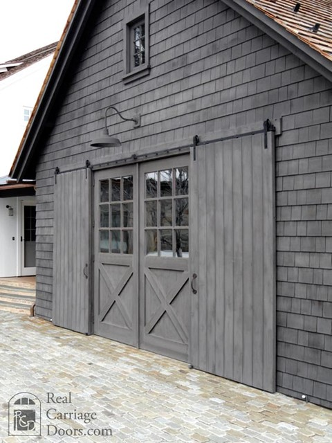 Sliding barn door shutters garage doors and openers by for Sliding glass garage doors