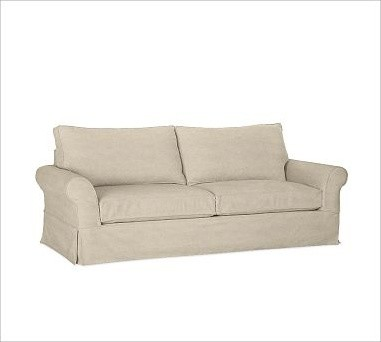PB Comfort Roll-Arm Slipcovered Grand Sofa, Polyester Wrap Cushions, Linen Oatme traditional-sofas