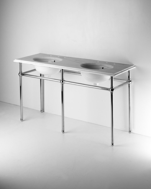 Metal Round Five Leg Double Washstand With Marble Top Traditional Bathroom Vanity Units