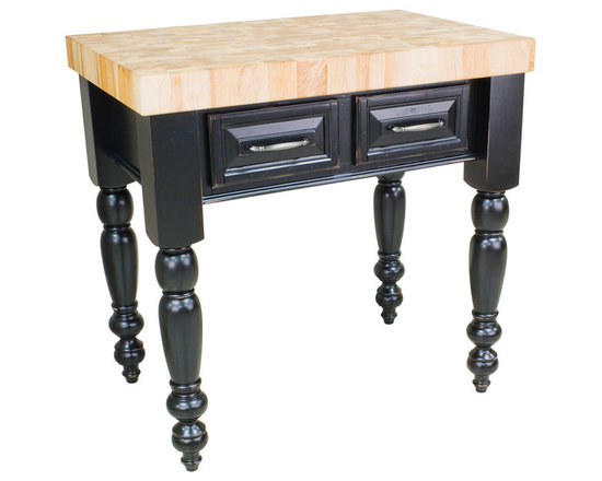 """Inviting Home - Saratoga Kitchen Island (distressed black) - kitchen island in distressed black finish; 36""""W x 24""""D x 36""""H; 3"""" hard maple butcher block top included; Saratoga kitchen island in distressed black finish. There are two fully functional drawers and a false panel on the reverse. Kitchen island features soft close under-mount slides on drawers and turned kitchen island legs (legs knockdown). 3"""" hard maple butcher block top included and comes preassembled."""