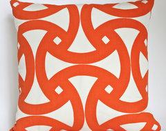 Trina Turk Santorini Pillow inTangerine & Ivory (Indoor/Outdoor) contemporary-pillows