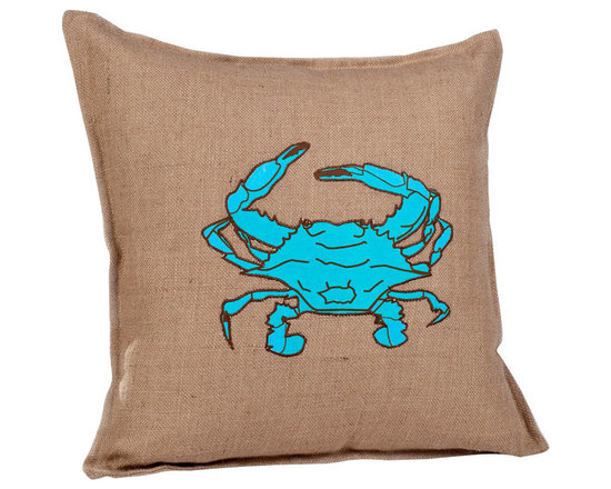 ecoaccents Blue Crab Washed Burlap Pillow