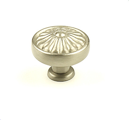 "Century Hardware Solid Brass, Knob, 1-1/4"" dia. Dull Satin Nickel modern-cabinet-and-drawer-knobs"