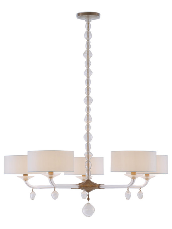 Perla Chandelier - Baker Furniture - The five-arm Perla Chandelier is a show-stopping silhouette that needs no introduction when appointing a room. The ceiling plate is brass finished in Satin Brass. A necklace of irregular pearls of Murano glass infused with 24 karat gold cascade down a solid cast brass pole that terminates to a cast brass base on which the lights are suspended. Five curved arms of hand-blown Murano glass flecked with gold support five small silk shades made in Italy, each surrounding a single 60-watt globe bulb and custom-fabricated solid brass components finished in Satin Brass. Large, irregular pearls of iridescent Murano glass flecked in gold hang from the chandelier's center and each of the arms.