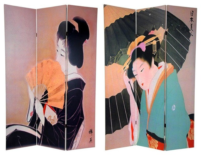 6 ft. Tall Double Sided Geisha Room Divider asian-screens-and-room-dividers