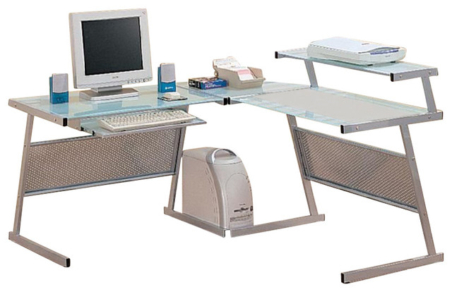 Coaster Wrightwood L-Shape Computer Desk in Silver modern-desks-and-hutches