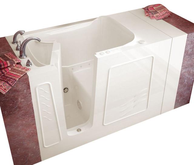 Meditub 30x53 Left Drain Biscuit Air Jetted Walk-In Bathtub traditional-bathtubs