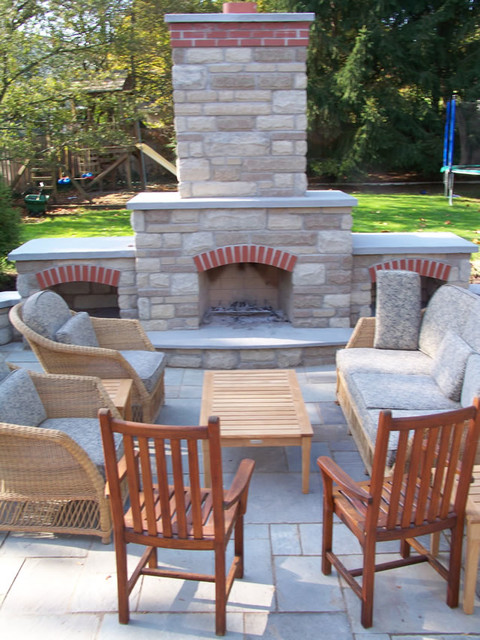 Outdoor Fireplace and Patio traditional-patio
