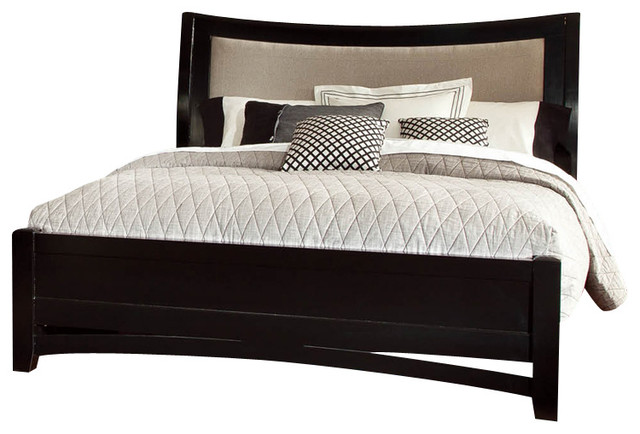 Global Madeline 3-Piece Platform Bedroom Set in Black with Cream Fabric traditional-bedroom-products