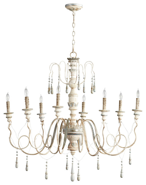 Chantilly French Country Parisian Blue White 8 Light