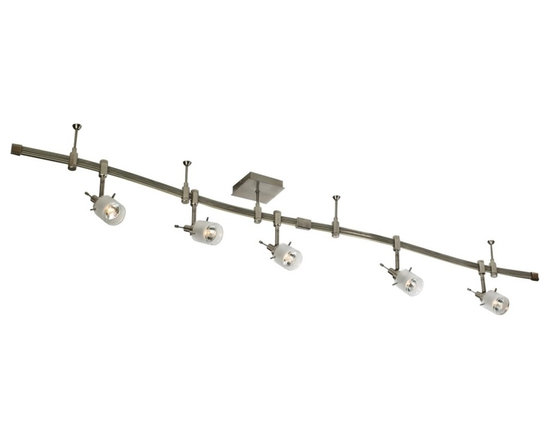 "Eurofase - Mercury Collection Five Light Satin Nickel Light Kit - This flexible contemporary style track kit will liven up your home decor and add accenting light. The satin nickel finish track kit features five cylinder shaped track heads and a flexible shapeable track. Includes five 50 watt halogen bulbs. 96"" wide. 10"" high.  Satin nickel finish.  Cylinder shaped track heads.  Flex shapeable track.  Includes five 50 watt halogen bulbs.   96"" wide.   10"" high."