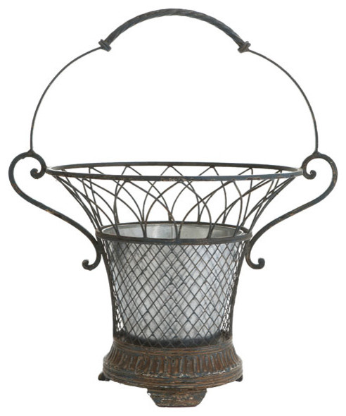 French Garden Basket Planter traditional indoor pots and planters