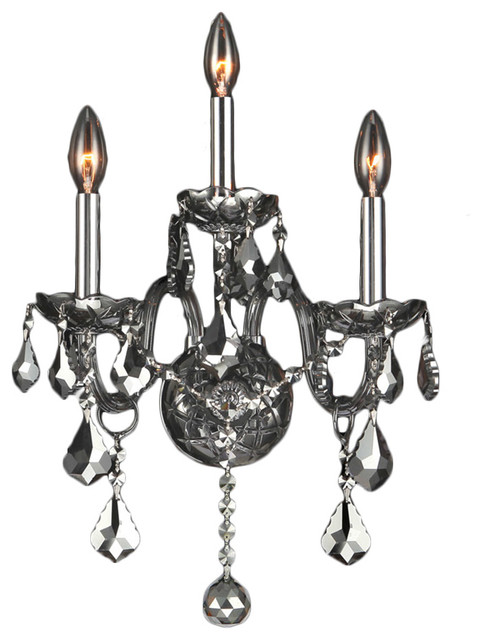 Chrome Wall Sconces For Candles : Provence 3 Light Chrome Finish and Chrome Crystal 13
