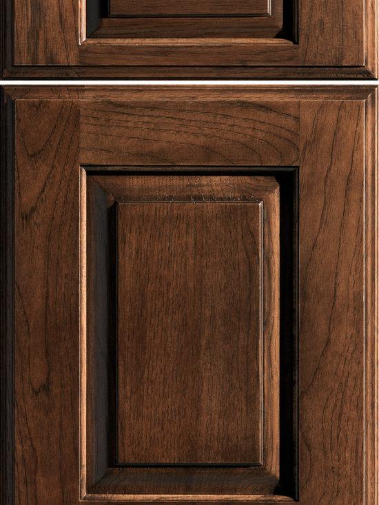"""Dura Supreme Cabinetry - Dura Supreme Cabinetry Nob Hill Cabinet Door Style - Dura Supreme Cabinetry """"Nob Hill"""" cabinet door style in Hickory shown with Dura Supreme's """"Mocha"""" gray sttain finish."""