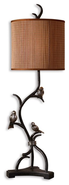 Uttermost Three Little Birds Table Lamp in Heavily Antiqued Silver eclectic-table-lamps