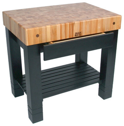 American Heritage Homestead Prep Table With Butcher Block Top Modern Cutting Boards