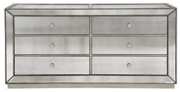 Omni Mirrored 6 Drawer Chest contemporary-dressers