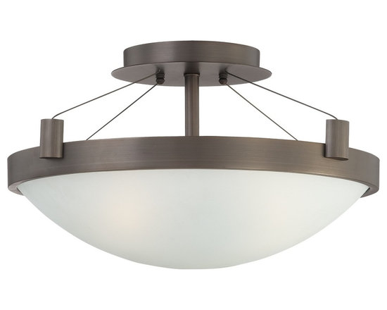 """George Kovacs - George Kovacs Copper Bronze 17 1/2"""" Wide Ceiling Light - Warm accents make this semi-flushmount ceiling light a perfect choice for any area that needs a modern yet cozey touch. The finish is a copper bronze patina which goes wonderfully with any type of decor. The white frosted glass provides the perfect lighting. From George Kovacs. Copper bronze patina finish. White frosted glass. Takes three 60 watt medium base bulbs (not included). 17 1/2"""" wide. 10 1/4"""" high.  Copper bronze patina finish.   A George Kovacs lighting design.  White frosted glass.   Takes three 60 watt bulbs (not included).  17 1/2"""" wide.   10 1/4"""" high."""