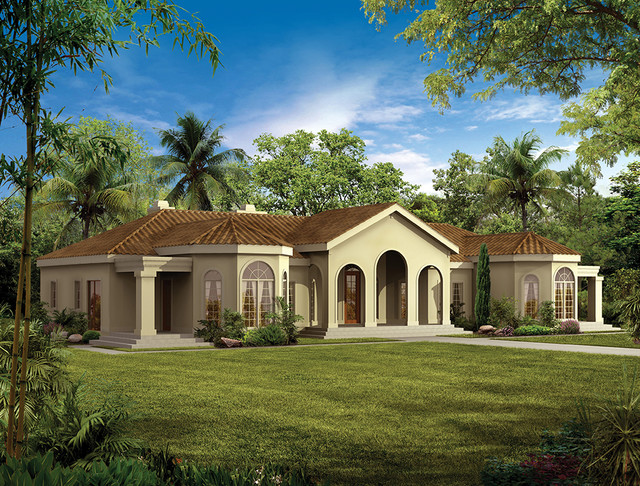One story mediterranean mediterranean rendering for Dream house source