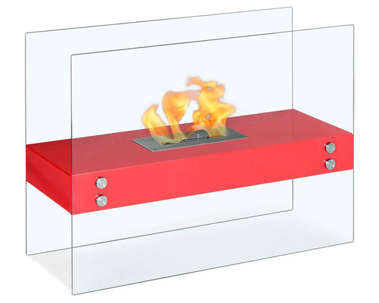 Moda Flame - Avila Contemporary Indoor Outdoor Ethanol Fireplace - Red - The Avila modern fireplace is comprised of a steel shelf, sitting comfortably on two vertically mounted glass walls. Perfect for any indoor or outdoor setting.