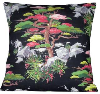 "Asian Barkcloth Pillow Cover ""Asian Bloom"" Mid Century Oriental Pillow - Asian - Decorative ..."