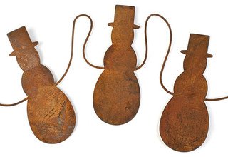 Primitive Rusty Tin Snowman Garland - Contemporary - Wreaths And Garlands - by Factory Direct Craft
