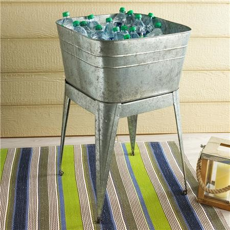 Wash Tub With Stand : Galvanized Metal Wash Tub with Stand - Industrial - Serveware - by ...