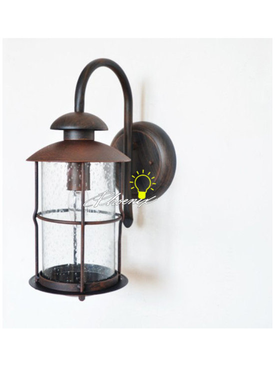 Antique Iron and Bubble Glass Wall Sconce in Baking Finish - Antique Iron and Bubble Glass Wall Sconce in Baking Finish