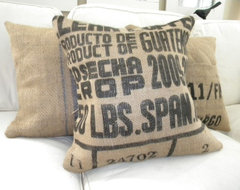 Burlap Coffee Sack Pillow eclectic pillows