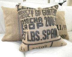 Burlap Coffee Sack Pillow eclectic-pillows