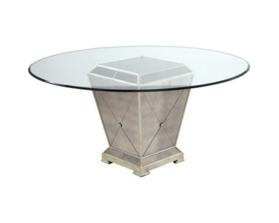 """Z Gallerie - Borghese Round Dining Table - Our glamorous mirrored furniture collection catches the light and will make any room glisten. Solid hardwoods with antique beveled mirror veneer finished with champagne gilt wood trim. Also available in 54"""" glass $649.00."""