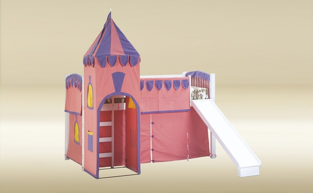 Twin Loft Bed with Pink Castle Tent and Slide modern-kids-beds