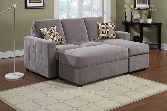 AC Pacific Modern Small Charcoal Sectional Sofa Chaise ...