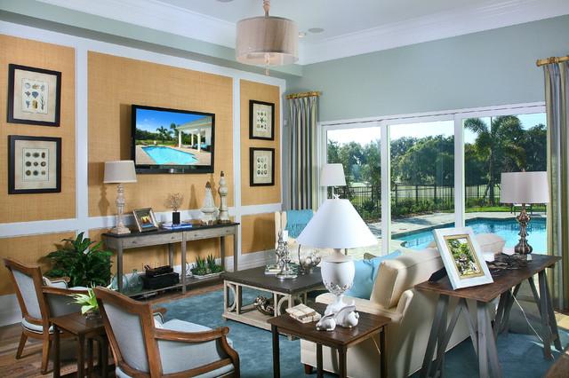 The Laurel Cottage Coastal Design tropical-living-room
