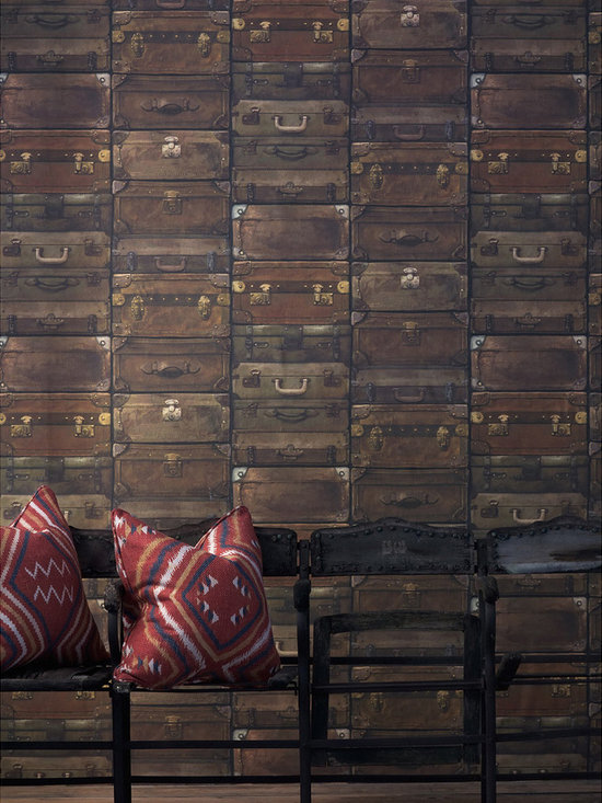 Kathy Kuo Home - Masculine Vintage Stacked Luggage Wallpaper - Leather - You've got your own sense of style — case closed! So consider putting up this handsome, offbeat wallpaper. The motif of stacked vintage valises is handsome, original and totally you.