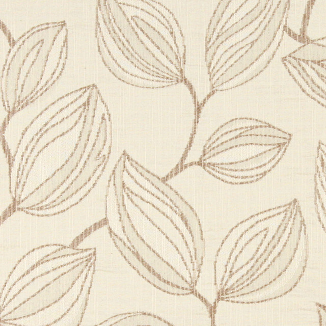 Beige and Off White, Large Leaves Contemporary Upholstery Fabric By The Yard contemporary-upholstery-fabric