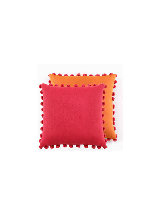 ELAINE SMITH Dark Pink/Orange Outdoor Pom Pom Pillow