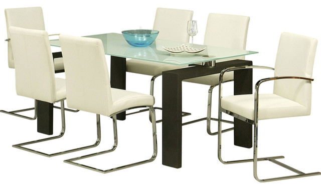 Pastel Skyline 7-Piece White Glass Dining Room Set with Monaco Chairs traditional-dining-sets