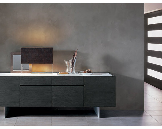 """Our Designer Furniture - KUBIT - Cupboard in oak or in lacquered wood with four drawers. Top in """"White Michelangelo"""" or """"Black Marquinia"""" marble or in """" Serena"""" stone. """"Silk finish"""" brushed and anodised aluminium base."""
