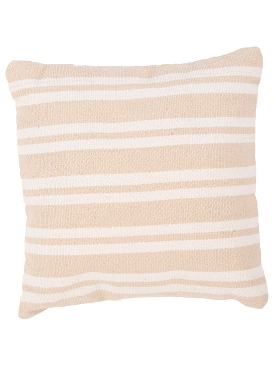 """Jaipur Rugs - Handmade Cotton Taupe/Tan/Ivory/White (18""""x18"""") Pillow - Santorini are flatweave dhurri styled pillows in pastels and bright colors to liven any d�cor."""
