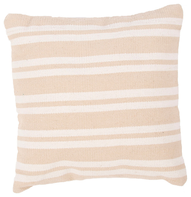 """Handmade Cotton Taupe/Tan/Ivory/White (18""""x18"""") Pillow transitional-decorative-pillows"""