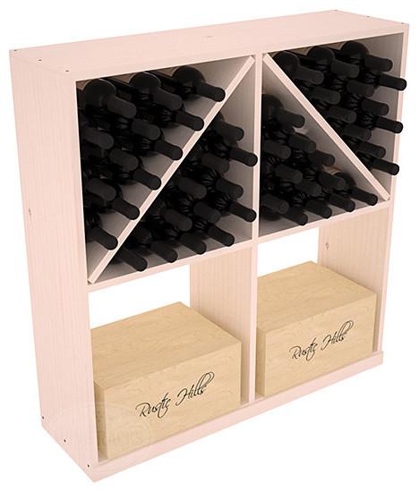 Solid Case/Bottle Storage Bin in Pine, White Wash + Satin Finish contemporary-wine-racks