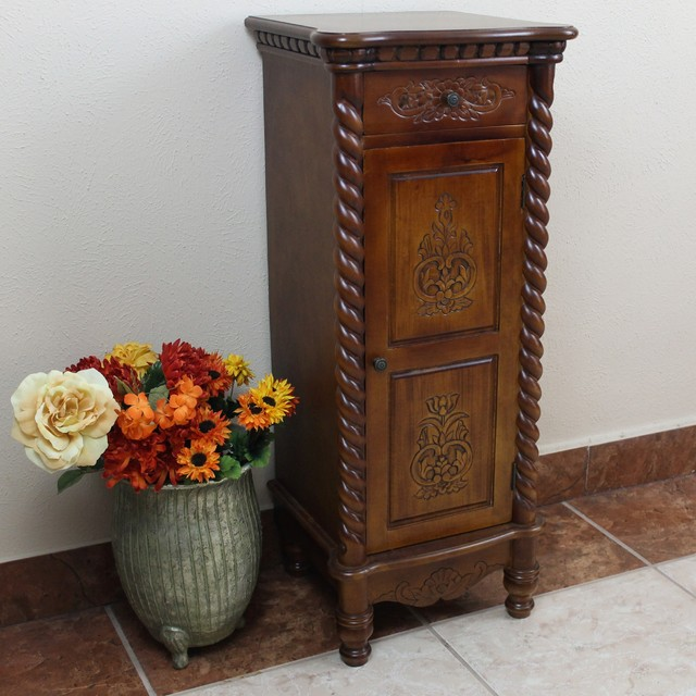 ... Carved Wood Two-drawer Tall Cabinet - Contemporary - by Overstock.com