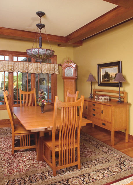 Mission style cherry dining room furniture craftsman dining room cleveland by schrocks - Mission style dining room furniture ...