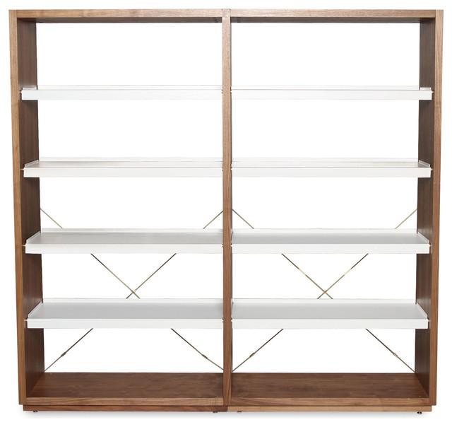 Blu Dot D3 Add-on Unit, Walnut / White modern-bookcases