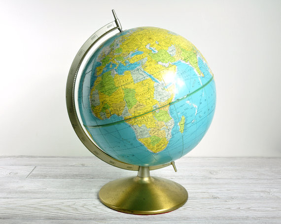 Vintage Rand McNally World Globe by Haven Vintage traditional-world-globes