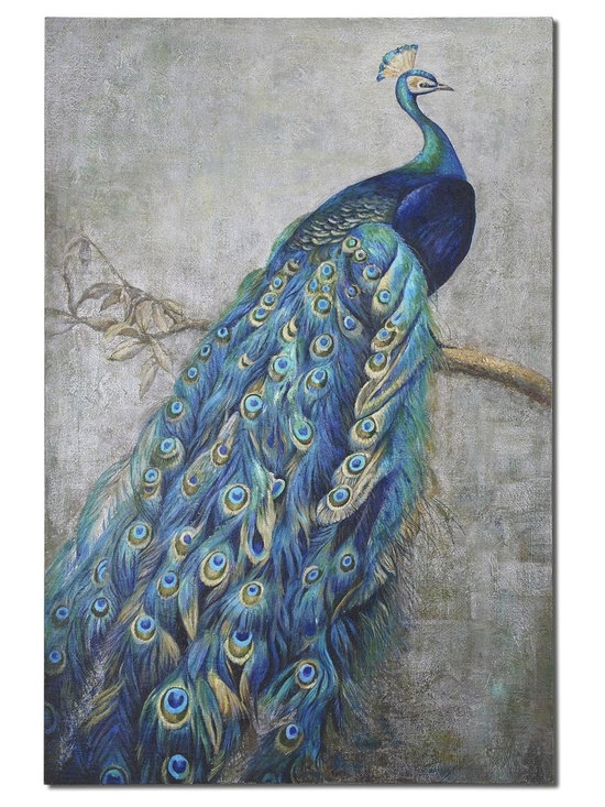 Proud Papa by Uttermost - Shop StudioLX for your Proud Papa by Uttermost. The proud peacock displays vibrant shades of turquoise blue mixed with greens and yellows in this hand painted artwork on burlap applied to hardback board.