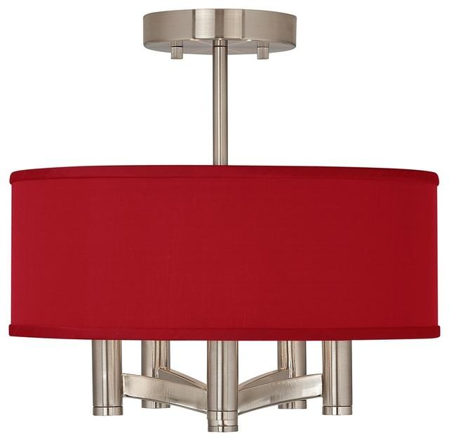 China Red Textured Silk Ava 5-Light Nickel Ceiling Light modern-flush-mount-ceiling-lighting