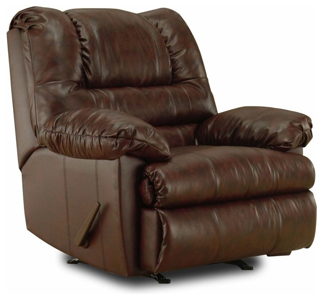 Simmons Geneva 3-Way Rocker Recliner - Mahogany traditional-armchairs-and-accent-chairs